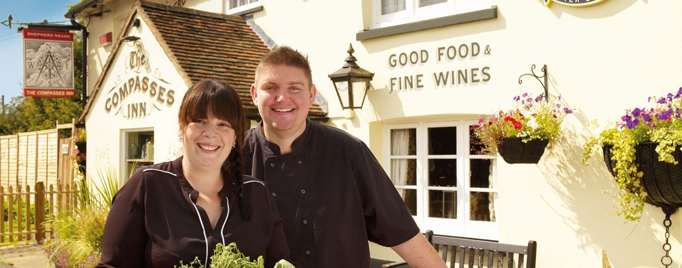 Shepherd Neame Licensees Donna and Rob Taylor at The Compasses Inn